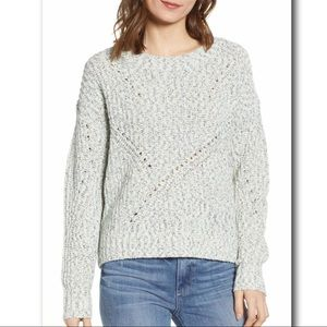Hinge Pointelle Cotton Blend Crewneck Sweater
